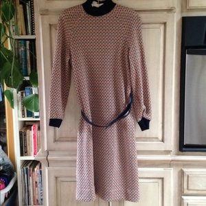L'Aiglon Dress vintage knit navy rust tan belted